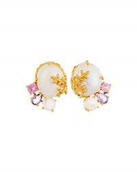 Indulgems Pearl Amethyst And Quartz Cluster Earrings