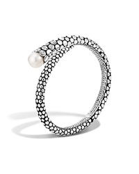 John Hardy Dot Sterling Silver Diamond Pave Kick Cuff With Cultured Freshwater Pearls