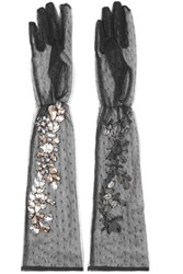Dolce And Gabbana Crystal Embellished Point D'esprit Gloves Black