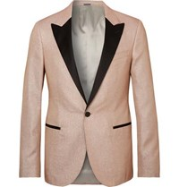 Lanvin Champagne Slim Fit Satin Trimmed Glittered Woven Tuxedo Jacket Pink