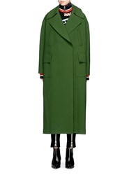 Emilio Pucci Oversized Collar Virgin Wool Long Coat Green