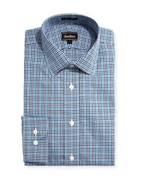 Neiman Marcus Classic Fit Regular Finish Plaid Dress Shirt Teal