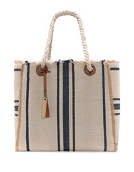 Vince Camuto Ulla Cotton And Linen Blend Tote Blue