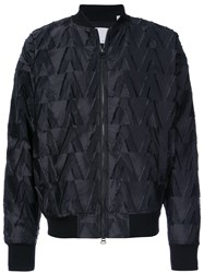 Private Stock Textured Pattern Bomber Jacket Black