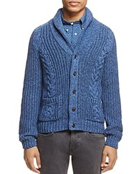 Brooks Brothers Shawl Collar Cable Knit Cardigan Sweater Open Blue