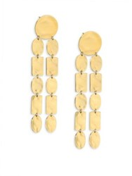 Ippolita 18K Senso Oval And Rectangle Long Double Linear Earrings Gold