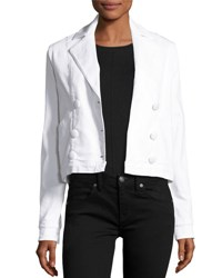 Frame Double Breasted Denim Crop Jacket Blanc White