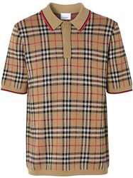 Burberry Vintage Check Merino Wool Polo Shirt Neutrals