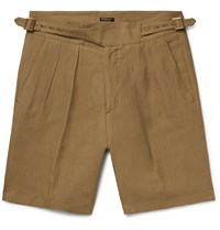 Rubinacci Manny Pleated Linen Bermuda Shorts Neutrals