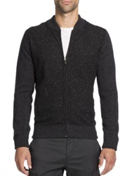 Saks Fifth Avenue Donegal Wool Zip Front Cardigan Black Grey