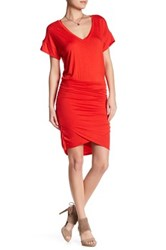 Vanity Room V Neck Knit Ruched Dress Red