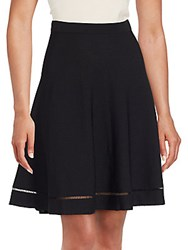 Saks Fifth Avenue Lattice Stitched Swing Skirt Black