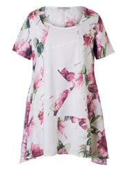 Chesca Printed Linen Tunic White