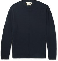 Marni Knitted Cotton Sweater Navy