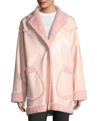 Opening Ceremony Reversible Furry Patent Coat Pink