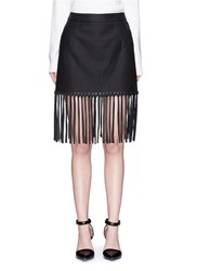 Alexander Wang Leather Fringe Hem High Waist Twill Mini Skirt Black