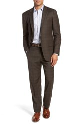 Hart Schaffner Marx Big And Tall New York Classic Fit Stretch Plaid Wool Suit Brown