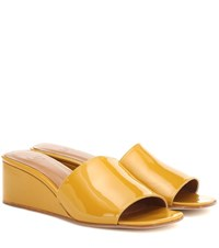 Loq Sol Patent Leather Wedge Sandals Yellow