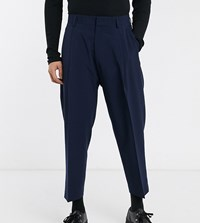 Noak Wide Leg Trousers In Navy