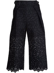 Sacai Guipure Lace Cropped Trousers Black