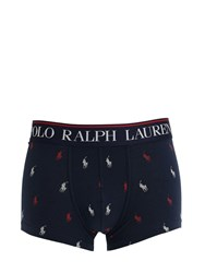 Polo Ralph Lauren All Over Logo Cotton Blend Boxer Briefs Navy