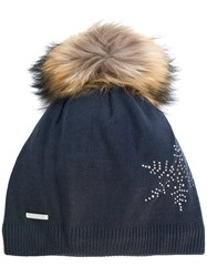 Rossignol Fily Beanie Hat Acrylic Polyester Racoon Fur Blue