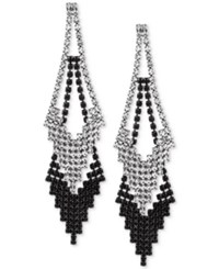 Guess Hematite Tone Clear And Jet Crystal Double Drop Earrings Black
