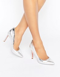 Ted Baker Sayu Silver Metallic Leather Courts Silver Metallic Leat