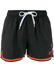 Sun 68 Contrast Trim Swim Shorts Black