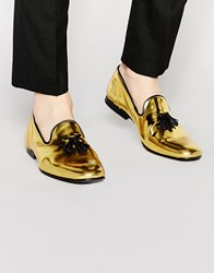 Asos Tassel Loafers In Metallic Gold Leather