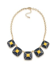 1St And Gorgeous Enamel Pyramid Pendant Statement Necklace In Dark Blue Yellow Gold