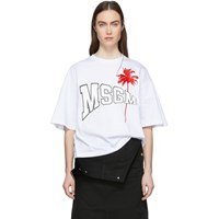 Msgm White Palm Logo T Shirt