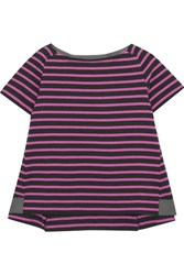 Sacai Dixie Grosgrain Trimmed Striped Cotton Jersey T Shirt Fuchsia