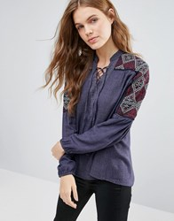 Hazel Embriodered Sleeve Blouse Navy
