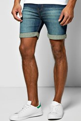 Boohoo Fit Denim Shorts With Green Wash In Mid Length Denim