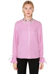 Vivetta Lurex Lace Collar Striped Poplin Shirt Pink
