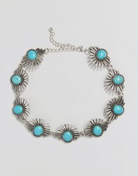 Reclaimed Vintage Turquoise And Silver Sun Choker Silverturq