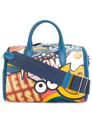 Anya Hindmarch Giant Stickers Tote Blue