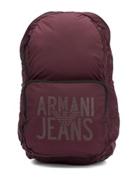 Armani Jeans Bordeaux Canvas Foldable Backpack Burgundy