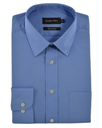 Double Two King Size Classic Plain Long Sleeve Shirt Blue