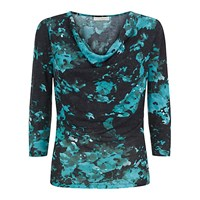 Kaliko Cowl Neck Winter Floral Print Top Green Multi