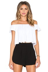 Susana Monaco Off The Shoulder Crop Top White