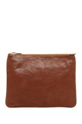 Cole Haan Large Leather Zip Pouch Brown