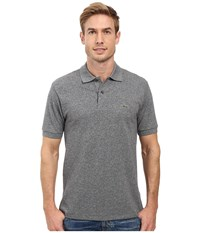 Lacoste Short Sleeve Original Heathered Pique Polo Navy Blue Mouline Men's Clothing Gray