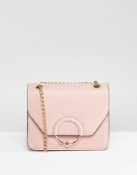 Asos Design Ring And Ball Cross Body Bag With Chain Strap Pink