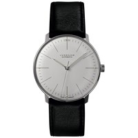Junghans 027 3501.00 Men's Max Bill Automatic Leather Strap Watch Black White