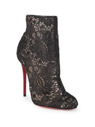 Christian Louboutin Miss Tennis 100 Guipure Lace Booties Black