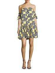 Milly Printed Off The Shoulder Dress Yellow