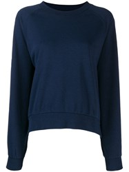 Closed Round Neck Sweatshirt Blue