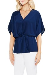 Vince Camuto Cinch Front Stretch Crepe Blouse High Tide
